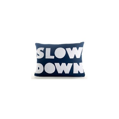 Good Advice Slow Down Throw Pillow Color: Navy Blue Canvas/White