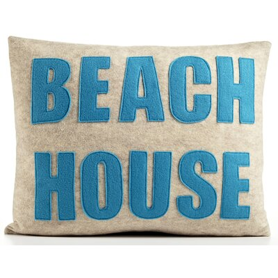 Space Defined Beach House Throw Pillow Color: Oatmeal Felt/Turquoise