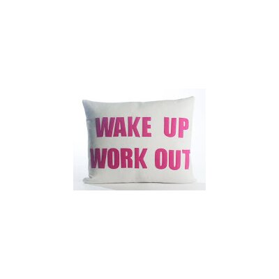 Go To The Gym Wake Up Work Out Throw Pillow Color: Cream Canvas/Fuchsia