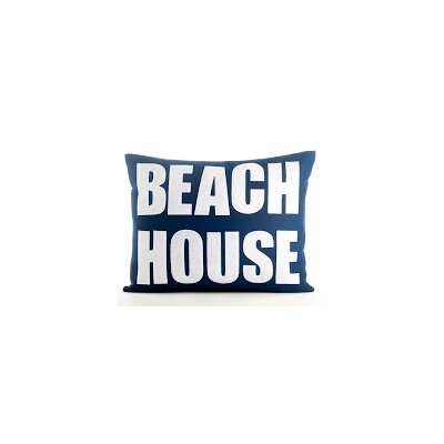 Space Defined Beach House Throw Pillow Color: Navy Blue Canvas/White