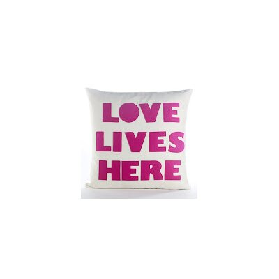 Celebrate Everyday Love Lives Here Throw Pillow Color: Cream Canvas/Fuchsia