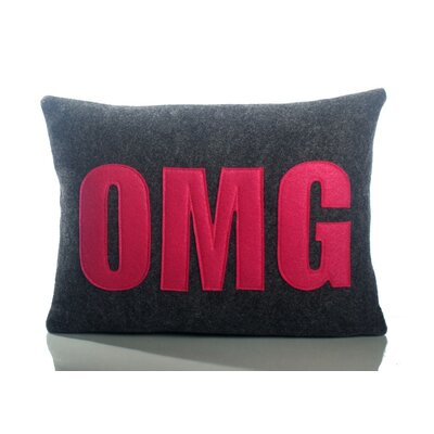 Modern Lexicon OMG Throw Pillow Size: 10 W x 14 D, Color: Charcoal & Fuchsia Felt
