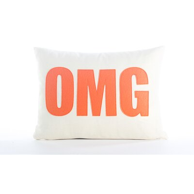 Modern Lexicon OMG Throw Pillow Color: Cream & Red Hemp & Organic Cotton, Size: 14 W x 18 D