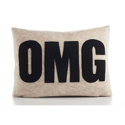 Modern Lexicon OMG Throw Pillow Color: Oatmeal & Black Felt, Size: 14 W x 18 D