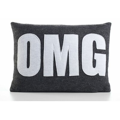 Modern Lexicon OMG Throw Pillow Size: 14 W x 18 D, Color: Charcoal & White Felt