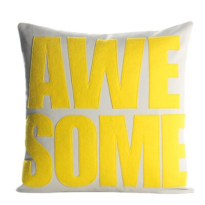 Celebrate Everyday Awesome Linen Throw Pillow Color: Stone / Yellow