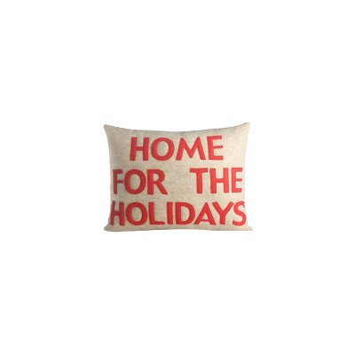 Home for The Holidays Lumbar Pillow Color: Oatmeal Felt / Red