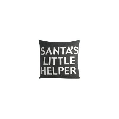 Holiday Santas Little Helper Throw Pillow Color: Cream Canvas / Black
