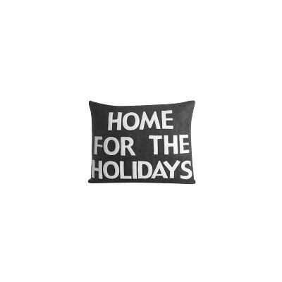 Home for The Holidays Lumbar Pillow Color: Charcoal Felt / White