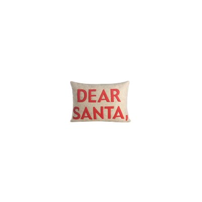 Holiday Dear Santa Lumbar Pillow Color: Oatmeal Felt/Red