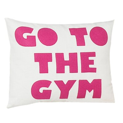 Go To The Gym Throw Pillow Color: Cream Canvas/Fuchsia