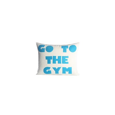 Go To The Gym Throw Pillow Color: Cream Canvas/Turquoise