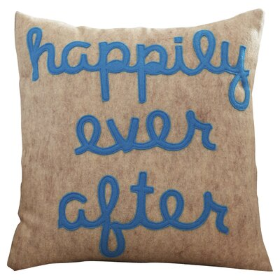 It Starts With A Kiss Happily Ever After Throw Pillow Size: 16 H x 16 W, Color: Oatmeal & Turquoise Felt