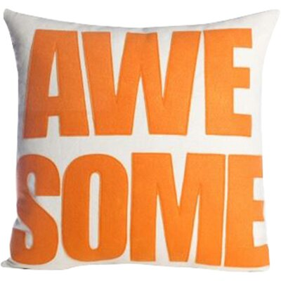 Awesome Throw Pillow Color: Charcoal / White
