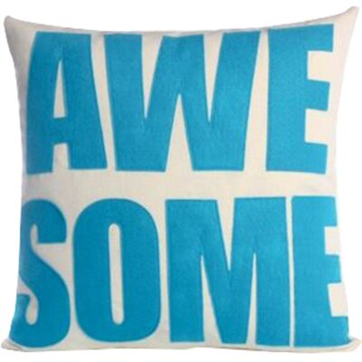 Celebrate Everyday Awesome Linen Throw Pillow Color: Cream / Turquoise