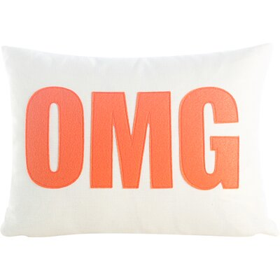 Modern Lexicon OMG Throw Pillow Color: Oatmeal & Red Felt, Size: 14 W x 18 D