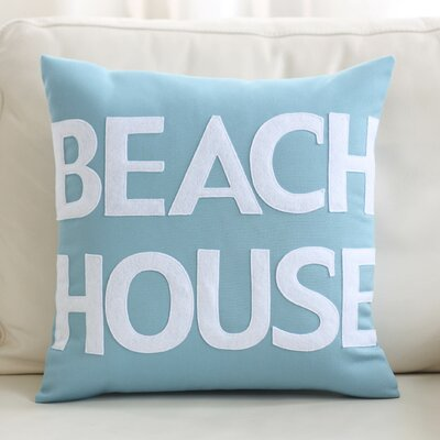 Beach House Outdoor Throw Pillow Color: Pool Blue / White