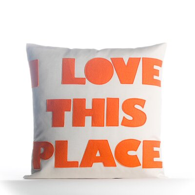 I Love This Place Outdoor Throw Pillow Color: Pool Blue / White