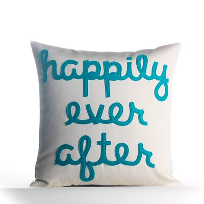 Happily Ever After Outdoor Throw Pillow Color: Pool Blue / White