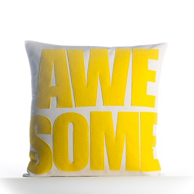 Awesome Outdoor Throw Pillow Color: Porcelain / Yellow