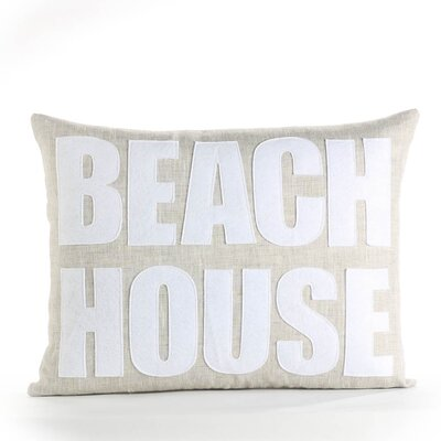 Space Defined Beach House Throw Pillow Color: Flax / White