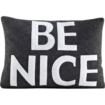 House Rules Be Nice Throw Pillow Color: Cream & Orange Felt