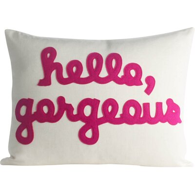 Hello, Gorgeous Canvas Lumbar Pillow Color: Cream / Fuchsia