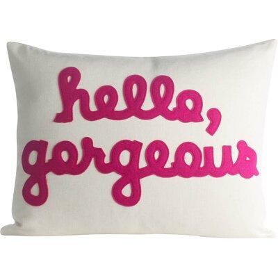 Hello, Gorgeous Canvas Lumbar Pillow Color: Cream / Fuchsia
