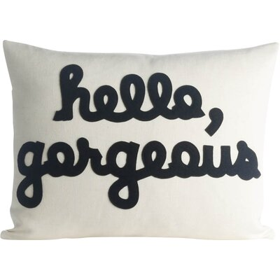 Hello, Gorgeous Canvas Lumbar Pillow Color: Cream / Black