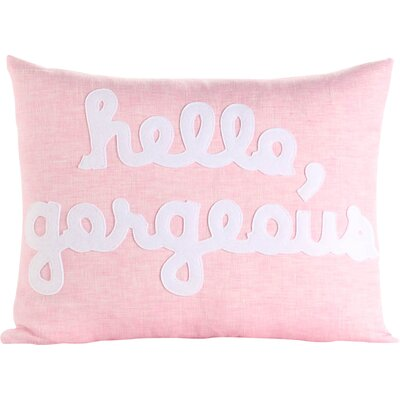 Hello, Gorgeous Canvas Lumbar Pillow Color: Pink / White