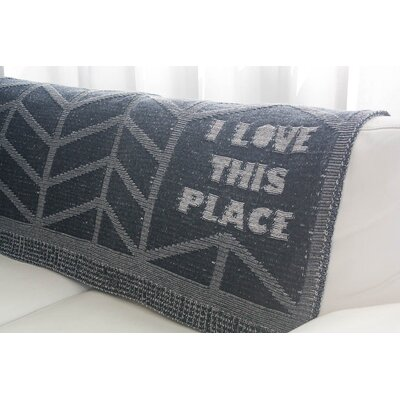 I Love This Place Throw Blanket Color: Charcoal