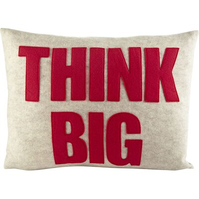 Mantras Think Big Lumbar Pillow Color: Charcoal Felt / White