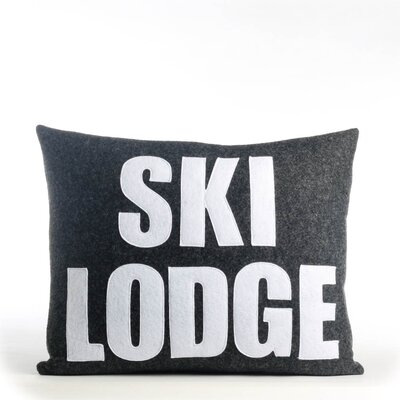 Weekend Getaway Ski Lodge Lumbar Pillow Color: Charcoal & White Felt