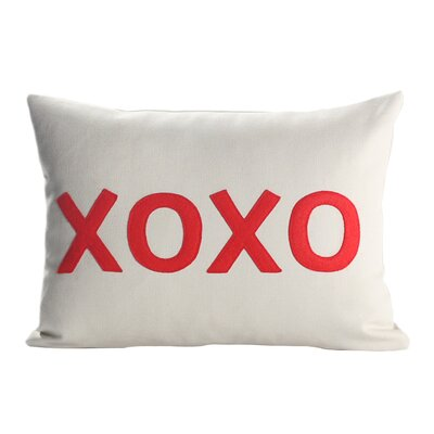 It Starts With A Kiss XOXO Throw Pillow Size: 10 H x 14 W, Color: Stone / Red