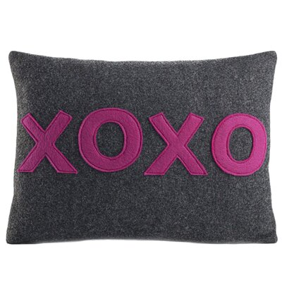 It Starts With A Kiss XOXO Throw Pillow Size: 10 H x 14 W, Color: Charcoal / White Felt