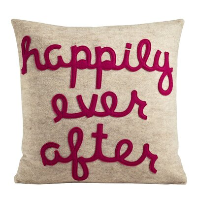 It Starts With A Kiss Happily Ever After Throw Pillow Size: 22 H x 22 W, Color: Oatmeal & Fuchsia Felt