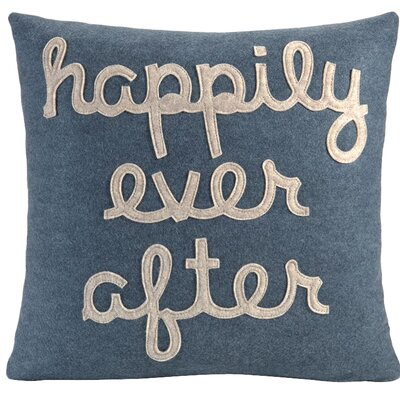 It Starts With A Kiss Happily Ever After Throw Pillow Size: 16 H x 16 W, Color: Denim & Oatmeal Felt