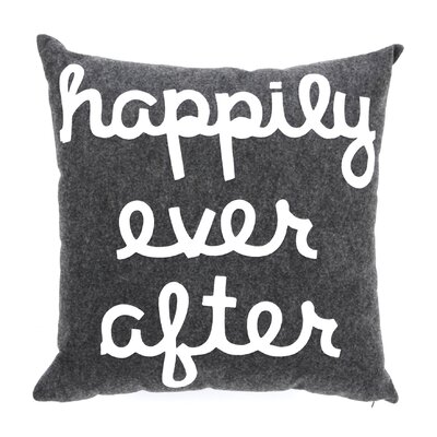 It Starts With A Kiss Happily Ever After Throw Pillow Size: 22 H x 22 W, Color: Charcoal & Turquoise Felt