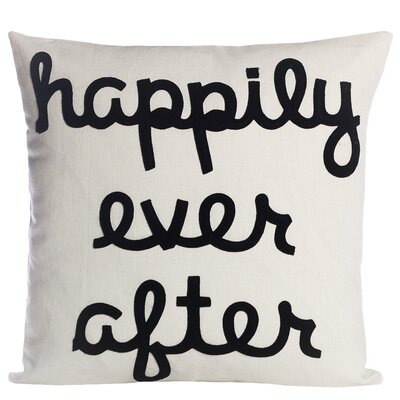 It Starts With A Kiss Happily Ever After Throw Pillow Size: 22 H x 22 W, Color: Cream & Black Hemp & Organic Cotton