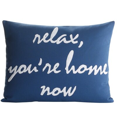 Celebrate Everyday Relax YouRe Home Now Throw Pillow Color: Navy / White