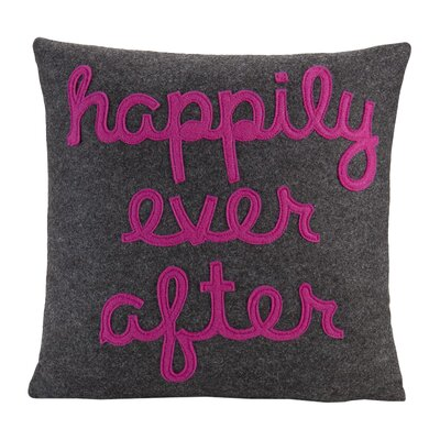 It Starts With A Kiss Happily Ever After Throw Pillow Size: 22 H x 22 W, Color: Charcoal & Fuchsia Felt