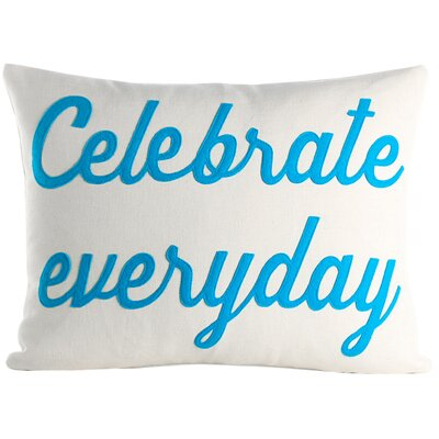 Celebrate Everyday Throw Pillow Color: Cream / Turquoise
