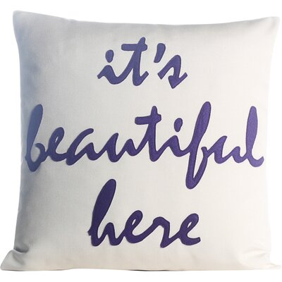 Its Beautiful Here Outdoor Throw Pillow Color: Porcelain / Purple