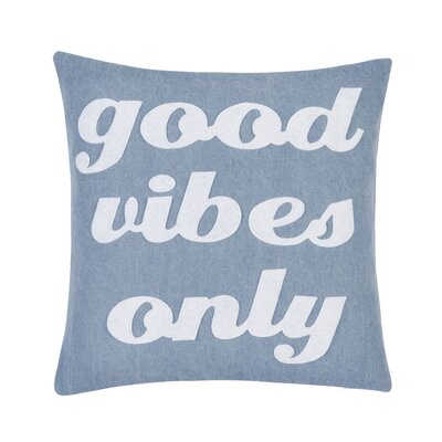 Good Vibes Only Throw Pillow Color: Blue/White