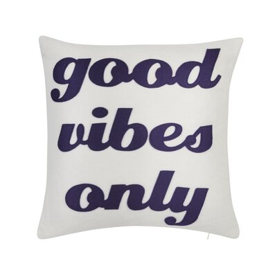 Good Vibes Only Throw Pillow Color: Cream /Purple