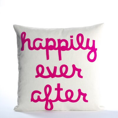 It Starts With A Kiss Happily Ever After Throw Pillow Size: 16 H x 16 W, Color: Cream & Fuchsia