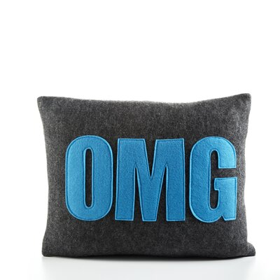 Modern Lexicon OMG Throw Pillow Color: Charcoal & Turquoise Felt, Size: 14 W x 18 D