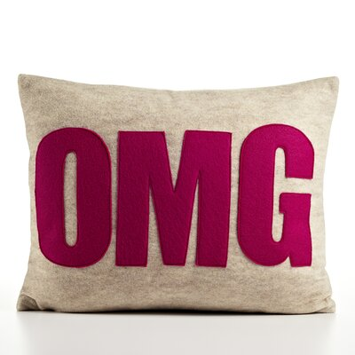 Modern Lexicon OMG Throw Pillow Size: 14 W x 18 D, Color: Oatmeal & Fuchsia Felt