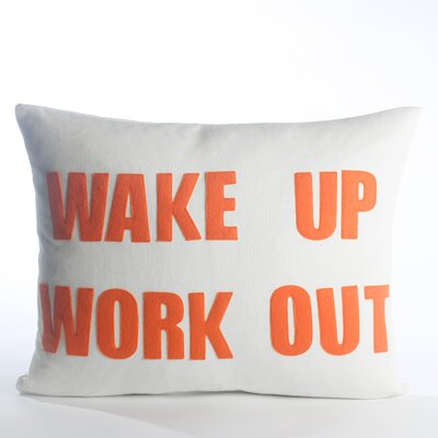 Go To The Gym Wake Up Work Out Throw Pillow Color: Cream Canvas/Orange