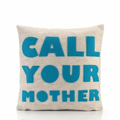 "alexandra ferguson ""Call Your Mother"" Decorative Pillow - Material: Black & White Hemp & Organic Cotton, Size: 16"" W x 16"" D at Sears.com"